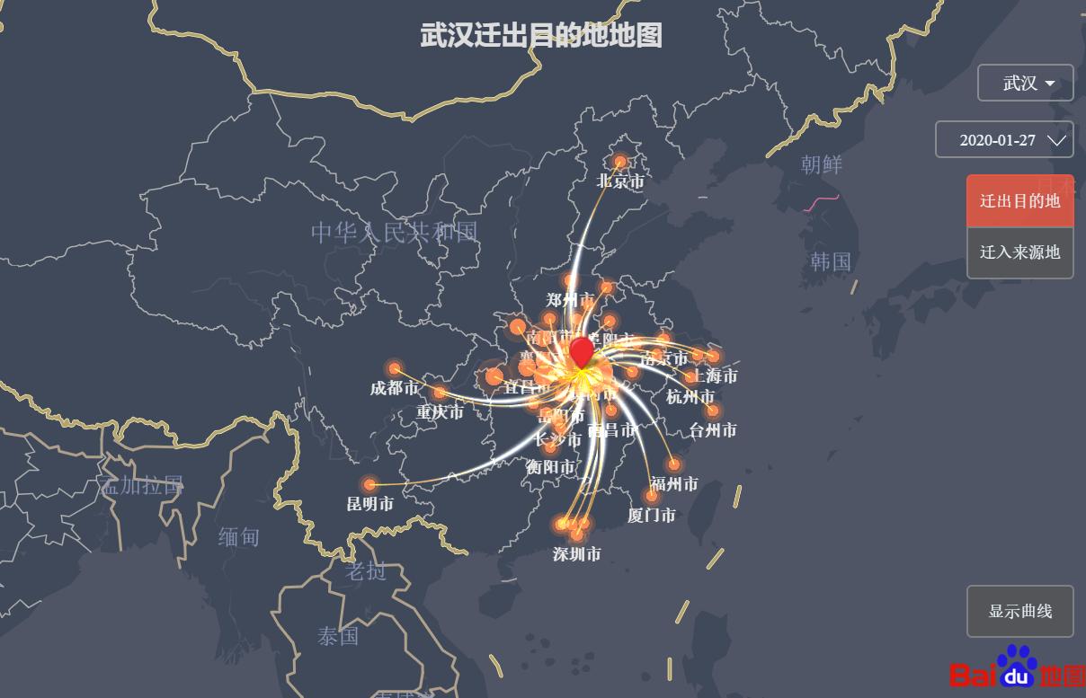 武汉迁出目的地地图