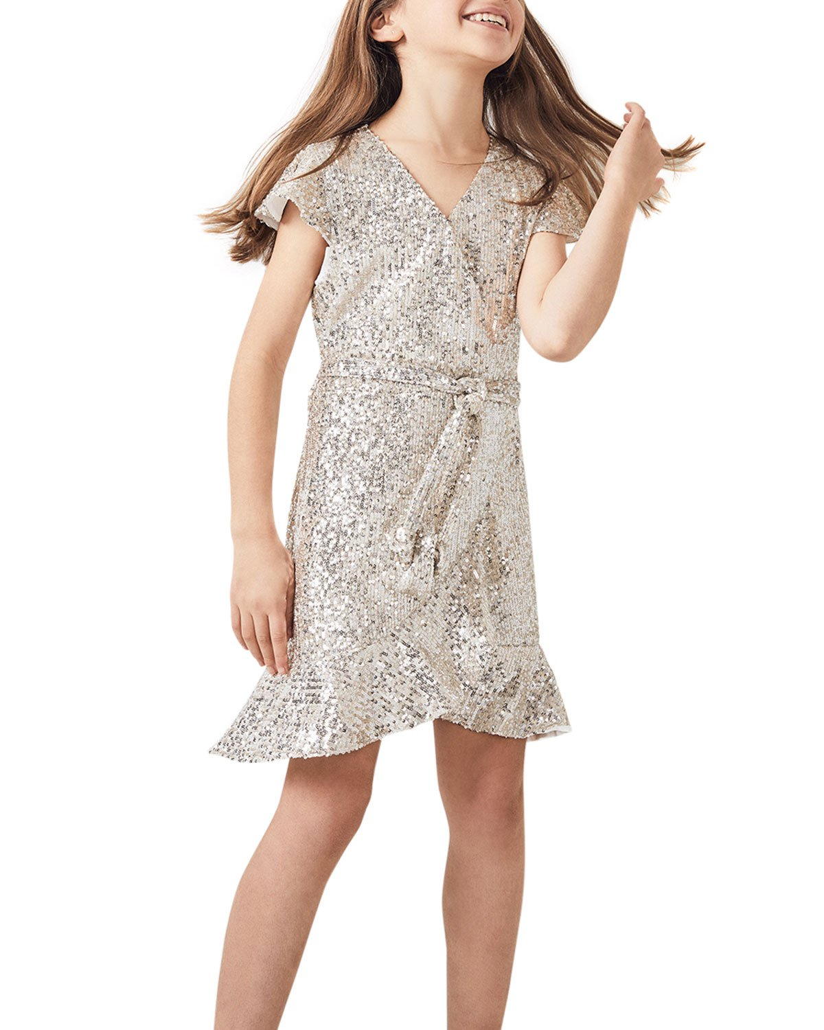 Bardot Junior Girl's Sequined Faux-Wrap Ruffle Dress, Size 4-7