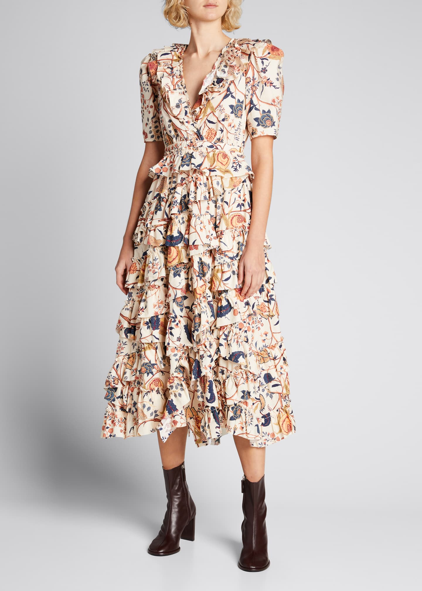 Image 1 of 5: Aurora Floral Tiered Ruffle Dress