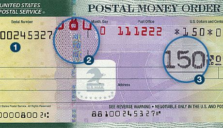 Fake Money Order Image showing fake described in section How to Spot a Fake Money Order